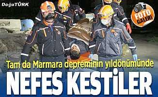 Marmara depreminin yıldönümünde nefes kesen operasyon