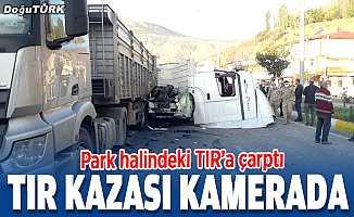 Erzurum'da 2 tırın karıştığı trafik kazası güvenlik kamerasında