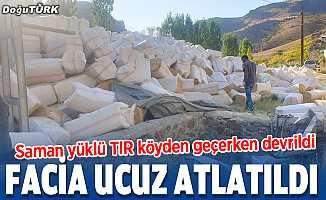Erzurum'da TIR devrildi, sürücü yaralandı