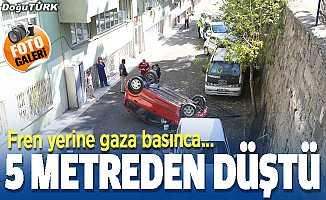 Erzurum'da kaza; 5 metreden düştü