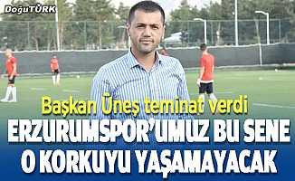 Üneş: Erzurumspor'umuz bu sene düşme korkusu yaşamayacak
