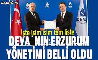 DEVA'nın Erzurum yönetimi belli oldu