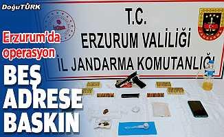 Erzurum'da beş adrese eş zamanlı operasyon