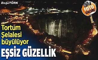 Erzurum'da ışıklandırması yapılan Tortum Şelalesi eşsiz güzelliğe büründü