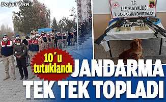 Erzurum'da dev operasyon; Jandarma tek tek topladı