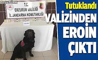 Erzurum'da valizinden uyuşturucu çıkan yolcu tutuklandı