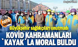 """Kovid-19 kahramanları """"kayak""""la moral buldu"""