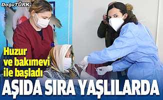 Erzurum'da huzur evi ve bakımevlerinde Kovid-19 aşısı yapılıyor