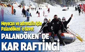 Off-road tutkunları Palandöken'de kar raftingi yaptı