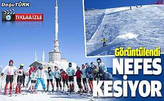 Turistlerin Palandöken'in dik ve uzun pistlerindeki kayak keyfi nefes kesiyor