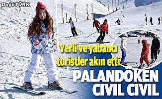 Yerli ve yabancı turistler Palandöken'de yoğunluk oluşturdu