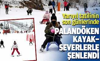 Palandöken yarıyıl tatilinin son günlerinde kayakseverlerle şenlendi