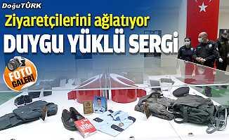 Erzurum'da şehit polislerin kıyafetlerinin yer aldığı sergi duygulandırıyor