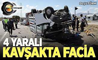 Erzurum'da otomobil ile kamyonet çarpıştı: 4 yaralı