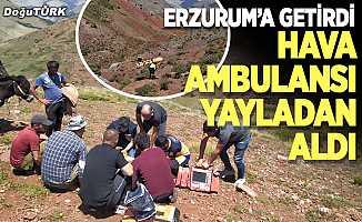 Hava ambulansı yayladan aldı, Erzurum'a getirdi