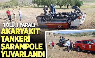Erzurum'da akaryakıt tankeri devrildi: 1 ölü, 1 yaralı