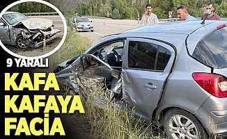Erzurum'da iki otomobilin çarpışması sonucu 9 kişi yaralandı