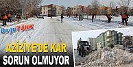 AZİZİYE'DE KAR SORUN OLMUYOR