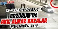 ERZURUM'DA TRAFİK KAZALARI MOBESE KAMERALARINA YANSIDI