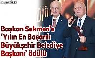 Başkan Sekmen'e 'Yılın En Başarılı Büyükşehir Belediye Başkanı' ödülü
