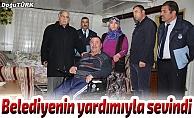 Oltulu engelli belediyenin yardımıyla sevindi