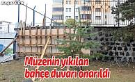 Müzenin yıkılan bahçe duvarı onarıldı