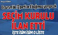 İşte Erzurum'un kesin aday listesi