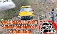 Orta refüje çarpan taksi şarampole yuvarlandı: 1 yaralı