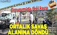 Erzurum'da kamyon ile öğrenci servisi çarpıştı: 3 yaralı