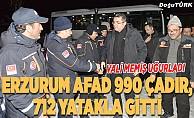 Erzurum'dan Elazığ'a 990 çadır, 712 yatak gönderildi