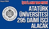 Atatürk Üniversitesi 295 sürekli işçi alacak