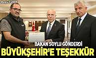 bBakan Soyludan Büyükşehire teşekkür belgesi/b